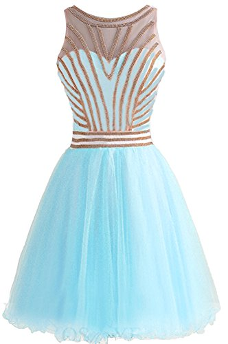 BD336 Dresses BessDress Tulle Gown Short Blue Formal Homecoming Ball Beading Gold n11Bqxzf