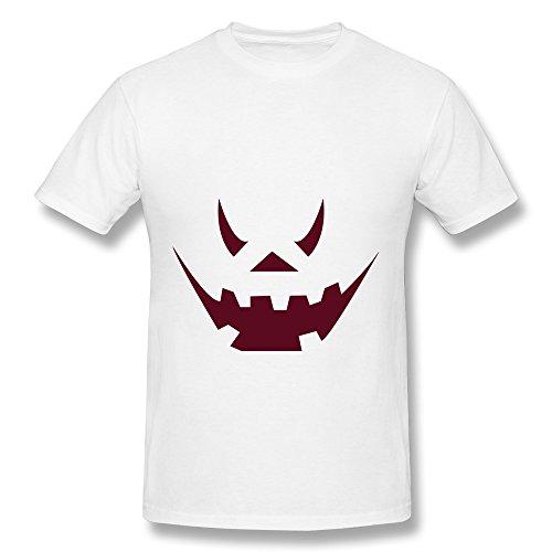 CHUNYAO Halloween Cool Pumpkin Face T Shirts For Mens M White]()