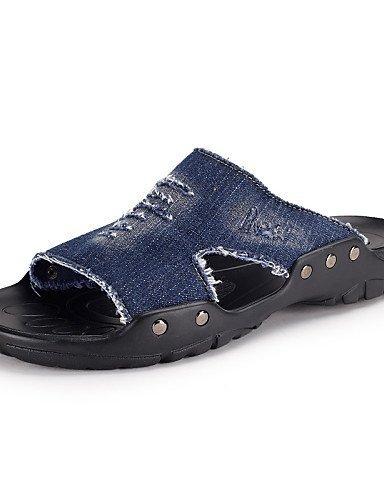 ShangYi Herren Sandaletten Herrenschuhe-Lässig-Flip-Flops-Denim Jeans-Schwarz / Blau / Khaki Black