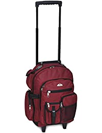 Deluxe Wheeled Backpack, Burgundy