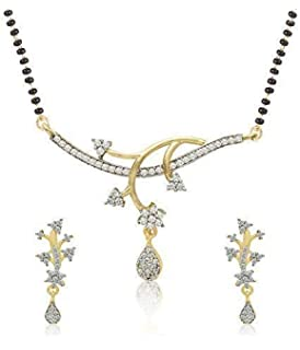 bc86b23fb Cardinal American Diamond Fashion Jewellerry Latest Design Stylish  Mangalsutra Pendant Necklace Set With Earring For Women