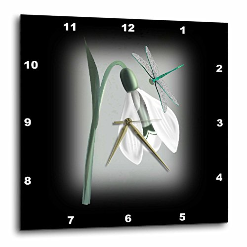 3dRose Snowdrop and Dragonfly Wall Clock, 10 x 10