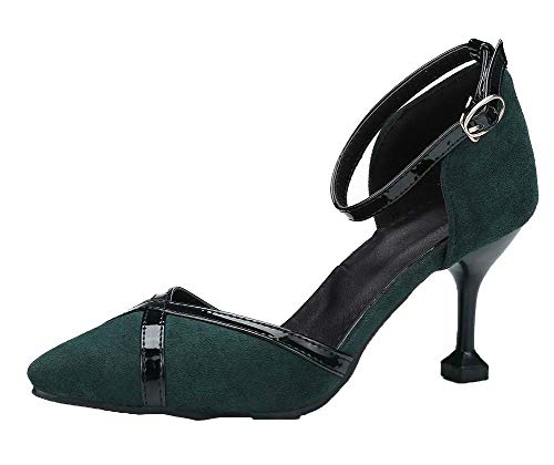VogueZone009 Women Frosted Closed-Toe High-Heels Assorted Color Sandals, CCALP015300 Green