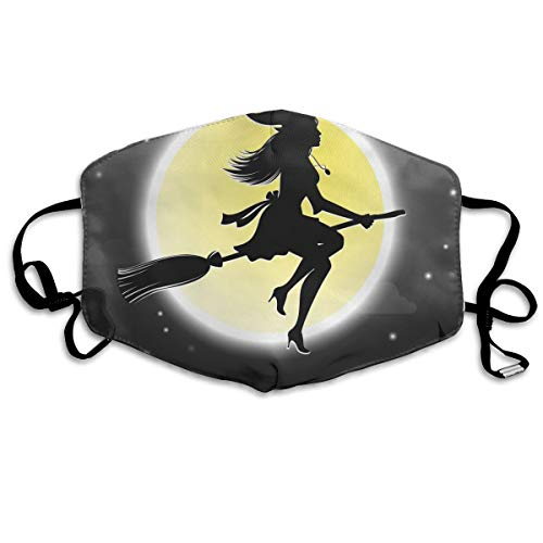 Lcokin Customized Halloween Witches Fly On Broomsticks Comfortable Breathable Mask, Universal Respirator Mask for Men and Women to Protect The Face ()