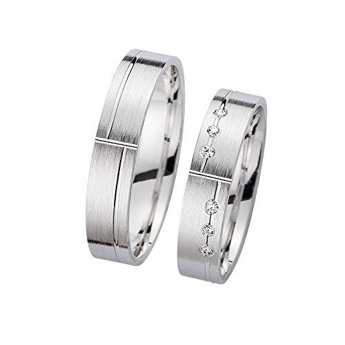 Los anillos de bodas de oro blanco 1 blanca de los pares/oro amarillo en