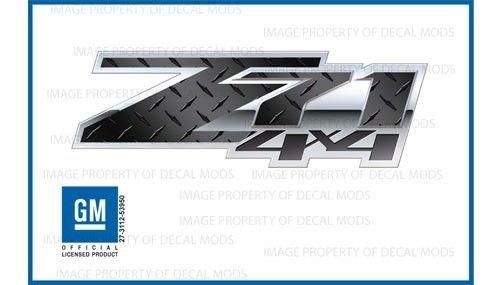 Chevy Silverado Z71 4x4 decals stickers Diamond Plate Black Special - FSDPBLK (2007-2013) bed side 1500 2500 HD (set of 2)