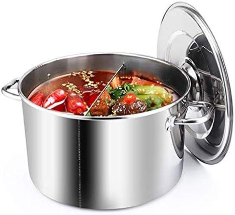 LXD Pot, grand profond en acier inoxydable de cuisson Couvercle Marmite en acier inoxydable, séparation pot, cuisson des aliments différents à la même heure 35cm