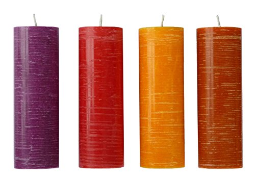 Amabiente Design Candles 84001Cocoon 4Cylinder Candle Indian Night Deco Plant Wax Candle Mix Mixed–4.5x 4.5x 14.5cm (Indian Pillar Candle)