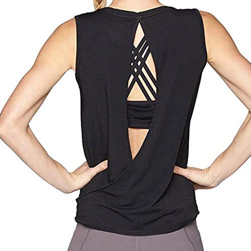 Sunhusing Women's Solid Color Sleeveless Round Neck Tank Tops Workout Yoga Sports Halter Vest Black