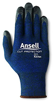Ansell Cut Protection 97-505 Kevlar Glove, Cut Resistant, Foam Nitrile Coating, Knit Wrist Cuff, (Pack of 1)