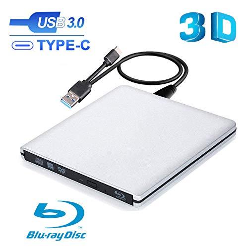Ploveyy External Blu Ray DVD Drive , USB 3.0 & USB C Burner Slim Optical Portable Blu-ray CD DVD Reader Writer RW Player for Laptop Desktop MacBook OS Windows 7 8 10 PC iMac Laptop (Silver) (Player For Imac Blue Ray)
