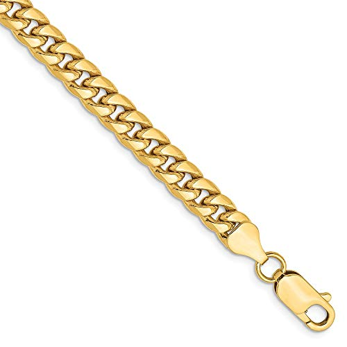 Mia Diamonds 14k Yellow Gold Hollow Miami Cuban Bracelet or Anklet -8'' (8in x 6mm) by Unknown (Image #4)