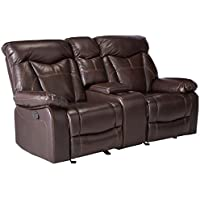 Coaster Home Furnishings  Zimmerman Modern Plush Padded Arm Contrast Stitching Motion Two Seater Loveseat - Dark Brown Faux Leather