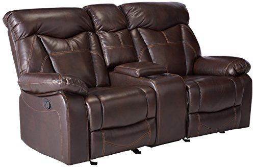 Coaster Zimmerman Casual Dark Brown Reclining Love Seat with Cup Holders