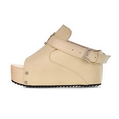 Beige Slippers BalaMasa Solid Girls Buckle Leather Imitated wXqY0rX