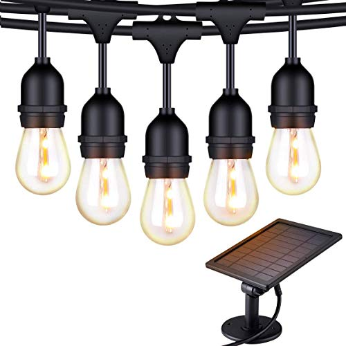Foxlux Solar String Lights – 48FT LED Outdoor String Light – Shatterproof, Waterproof Pergola Lights – 15 Hanging Sockets, Light Sensor, S14 Edison Bulbs – Ambience for Patio, Backyard, Garden, Bistro