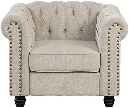 Morden Fort Couches for Living Room, Chair for Living Room Furniture Sets, Chair, Fabric, Linen Beige