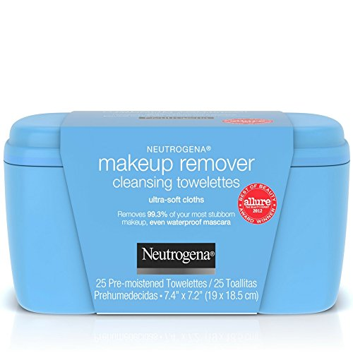 Neutrogena Makeup Remover Cleansing Towelettes, Daily Face Wipes to Remove Dirt, Oil, Makeup & Waterproof Mascara, 25 - Mascara Waterproof Remove