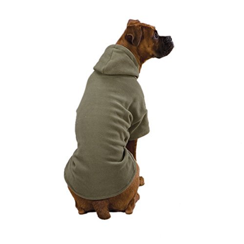[Casual Canine Polyester Basic Fleece 8-Inch Dog Hoodie, XX-Small, Chive] (Casual Canine Sweatshirt)