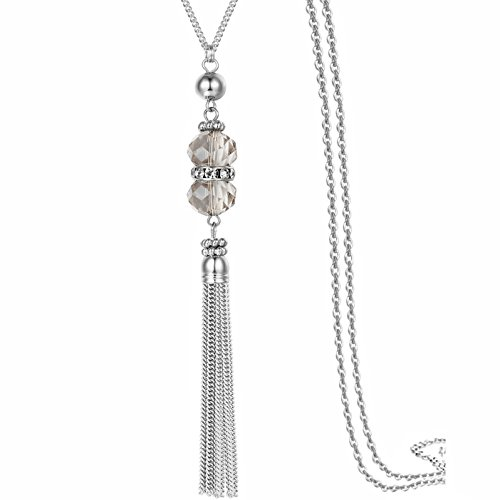 Handmade Jewelry Long Sparkly Crystal Pendant Tassel Necklace Chain for Women 32