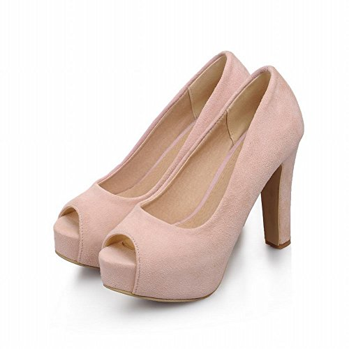 Zuilarm Mode Womens Elegantie Manchet Peep Toe Trouwjurk Platform Hoge Dikke Hak Pumps Schoenen Roze