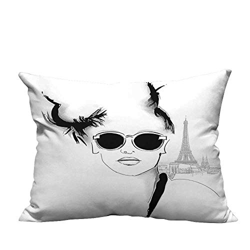 YouXianHome Pillowcase with Zipper Sketch of Pretty Model with Sunglasses in Paris Eiffel Tower Romantic Black Ultra Soft & Hypoallergenic (Double-Sided Printing) 13.5x19 inch ()
