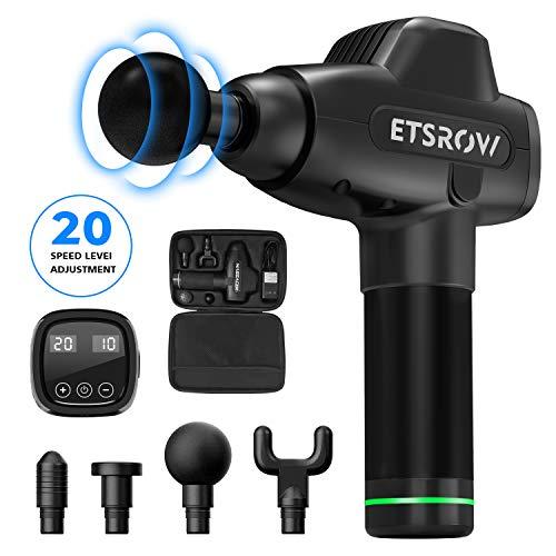 Massage Gun, ETSROW Handheld Electric Percussion Massager Gun, Deep Tissue Massager with 4 Kinds of Massager Heads…
