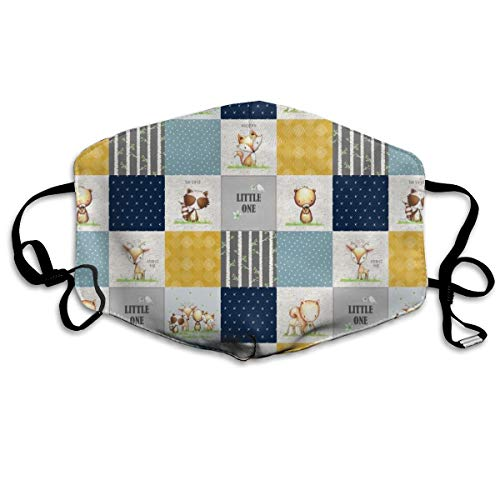 (Little One Animals Patchwork Quilt Panel Boys Woodland Birch Tree Deer Bear Fox Raccoon Squirrel, Blue Gray Mustard, Design E Anti Dust Mask Anti Pollution Washable Reusable Mouth Masks)
