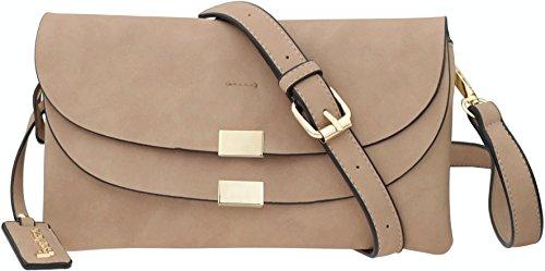 B BRENTANO Vegan Fashion Double-Flap Wristlet Clutch Crossbody Handbag (Taupe(N))