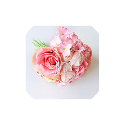 Wedding Bouquet Silk Pink Roses Hydrangea Peony Flower Artificial Wedding Bouquet for Bridesmaid Bridal Marriage Supplies,Rose Red Bouquets