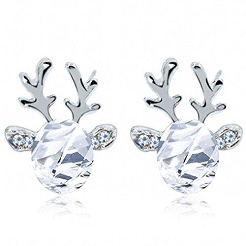 Tuscom Crystal Gemstone Earrings Luxury Three-dimensional Christmas Reindeer Antlers Earrings Gift (White)