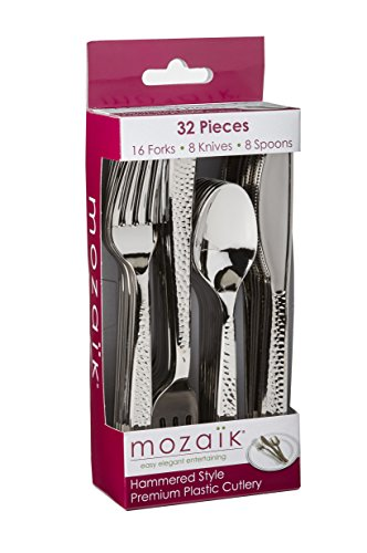 Mozaik Premium Plastic Hammered Stainless Steel Coated Assorted Cutlery, 32 pieces