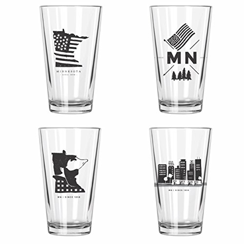 Minnesota Pint Glasses | Set of 4 (Mn Beer Glass compare prices)