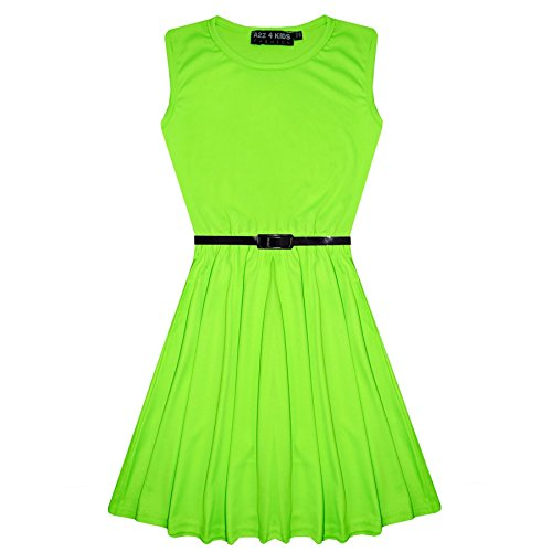 Girls Skater Dress Kids Neon Green Laces Detailed Summer Party Fashion Dresses