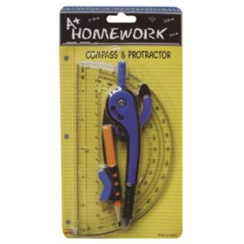 Safety Compass + 6'' Protractor 48 pcs sku# 1192925MA by A+Homework (Image #1)