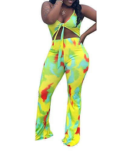 Remelon Womens Sexy Spaghetti Strap Multi Print V Neck Cut Out Bodycon Bell Flare Pants Club Party One Piece Jumpsuits Rompers Green XL
