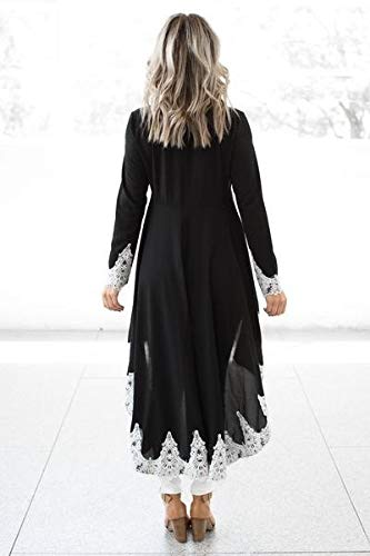 AMSKY Mens Dress Shoes,Women's Long-Sleeved Casual O-Neck Pullover Irregular Hem Solid Color Lace Dres,Jumpsuits, Rompers & Overalls,Black,4XL by AMSKY (Image #5)