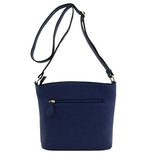 Zipper Navy Medium Pocket Triple Bag Crossbody xPzxwZ