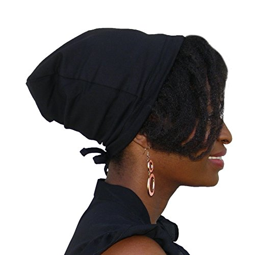 Satin Life Adjustable Drawstring Soft Slouchy Satin Lined Hat (Black) - Satin Inner Lining
