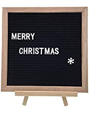 Black Felt Letter Board 10x10 Inches. Changeable Letter Boards Include White Plastic Letters, Numbers, Emojis, Wood Tripod Stand, Plus Free Letter Bag.