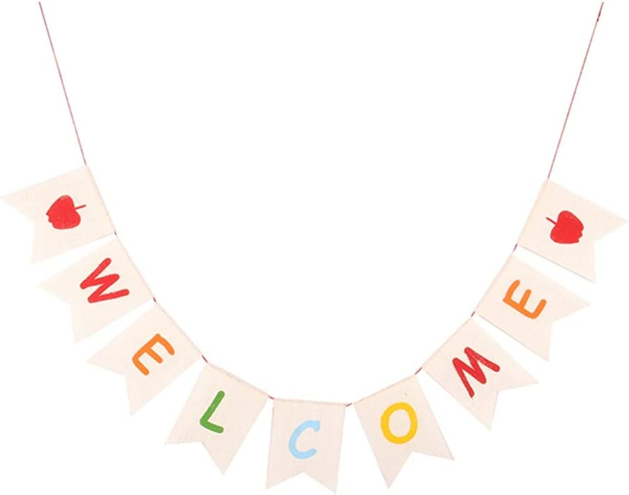 Amazon Com Funzzy Welcome Party Hanging Banner Back To School Linen Swallowtail Flag Wall Decoration Party Supply For School Openning Ceremony Family Gathering Home Kitchen