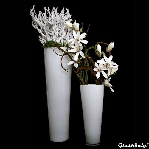 Große Konische Glas-Vase Konischer Zylinder 43cm Ø 18cm. Bodenvase in weiß zur Dekoration und als Blumenvase von Glaskönig