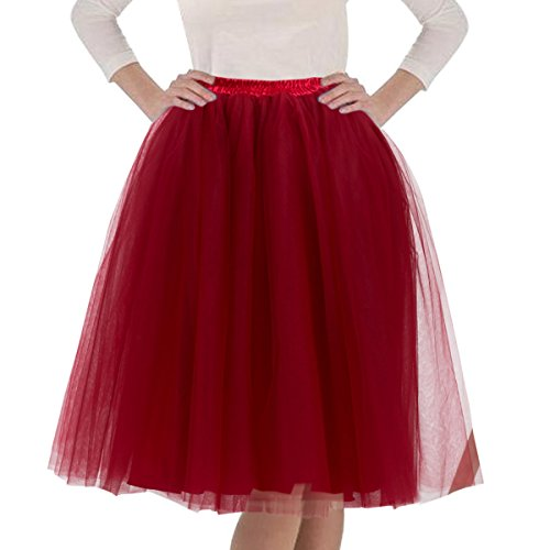 Quesera Women's Layered Tutu A Line Knee Length Elastic Waistband Puffy Tulle Skirt,Wine Red,Free Size fit in 2-12 by Que Sera