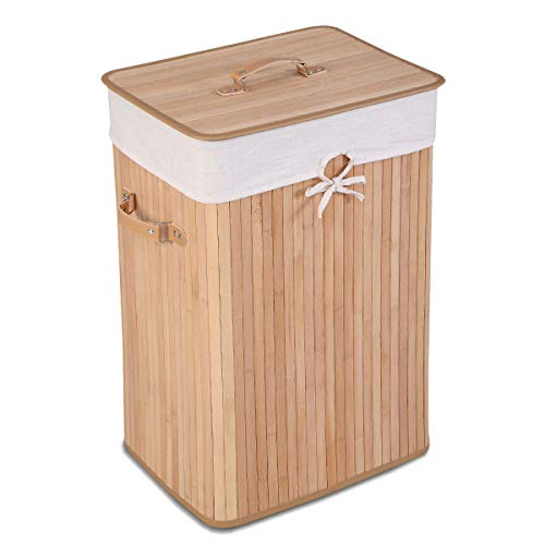 Giantex Laundry Hamper Bamboo Rectangle Basket Washing Cloth W/Bin Rangier Lid Laundry Basket Laundry Basket (Beige)