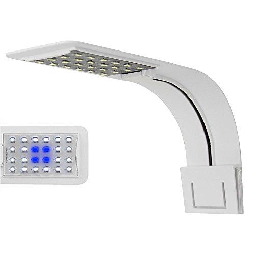Aquarium LED Light Slim Led Clip Light for Fish Tank 24 LEDs 10W (White Body White+Blue Light)