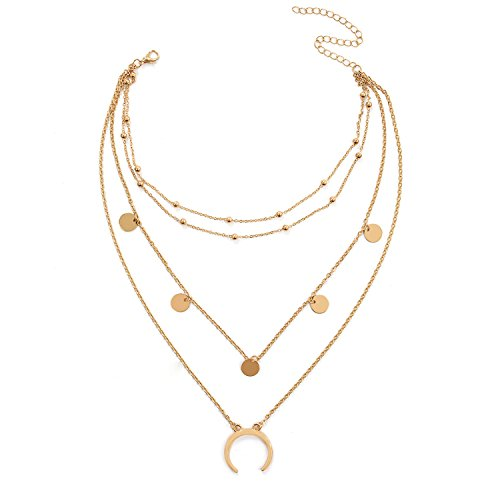 DDH Women's Bohemia Multi Layers Moon Sequins Nacklace Gold Tone Fasion Pendant Chain Choker