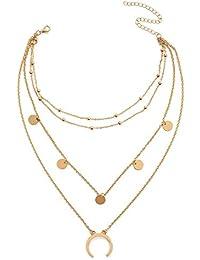 Women's Bohemia Multi Layers Moon Wafer Necklace Fasion Chain Choker
