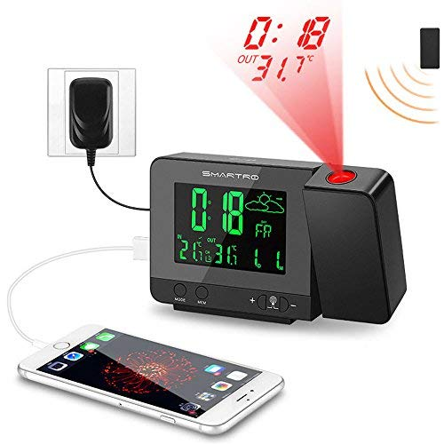 SMARTRO Digital Projection Alarm Clock with Weather Station, Indoor Outdoor Thermometer, USB Charger, Dual Alarm Clocks for Bedrooms, AC & Battery Operated by SMARTRO