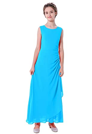 5e1fda0622c Bow Dream Chiffon Rhinestone Junior Bridesmaid Dress for Girls Wedding  Party Prom 7-18 Years