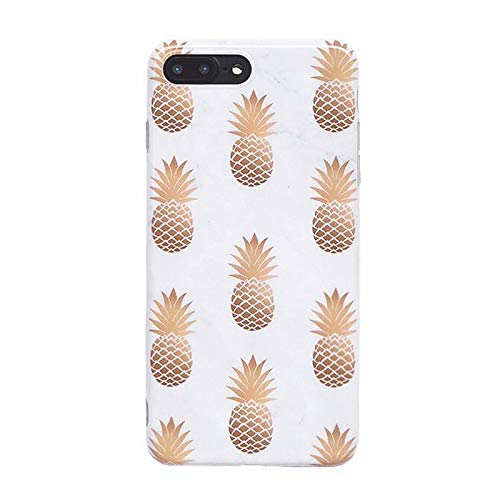 - iPhone 8 Plus Case, iPhone 7 Plus Case, White Marble & Golden Pineapple Design, Slim Fit Clear Bumper Soft TPU Full-Body Protective Cover Case for iPhone 7/8 Plus 5.5'' (Pineapples)